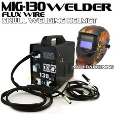 Mig-130 Flux Wire Welder Machine No Gas + Flame Auto Darkening Welding Helmet CE