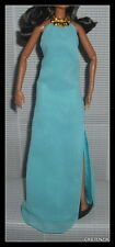 DRESS BARBIE MATTEL THE LOOK POOL CHIC AQUA BLUE HALTER DRESS WITH GOLD DETAIL