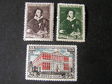 *RUSSIA, SCOTT # 1121/1122(2)+1125, TOTAL 3 1947 PUSHKIN+MOSCOW BLDG ISSUE MLH
