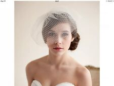 White Wedding Bridal Party Birdcage Veil with Hair Comb Headdress Fascinator