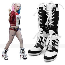 DC Suicide Squad Harley Quinn Cosplay Shoes Highheels Boots Halloween Costume @@