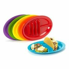 Fiesta Taco Plates, Set of 6 Your Tacos Won't Fall Over and Spill Made in USA