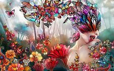 "ABSTRACT BUTTERFLIES WOMAN COLOURFUL Large Wall Art Canvas Picture 20""x30"""