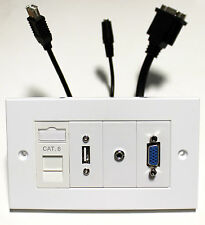 CAT6 RJ45, USB, 3.5 mm, VGA Multi Media FACEPLATE VIDEOPROIETTORE / TV / Office / Home / AUDIO