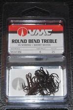 VMC 9650 Round Bend Treble Hooks Size 6 - Pack of 25 9650BN-06 Black Nickel