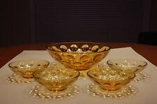 Five (5) Piece Vintage HAZEL ATLAS Gold EL DORADO 1960's Glass Bowls
