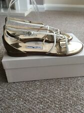 JIMMY CHOO HOLIDAY LEATHER SANDALS FLIP FLOPS CREAM GOLD SIZE Uk 6.5 EU 39.5