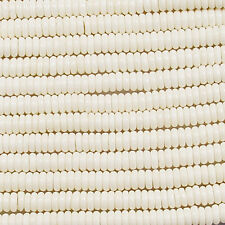 "BONE 5MM RONDELLE BEADS - 16"" ST  A+ WHITE NATURAL BT4"