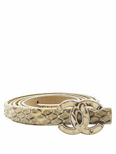 Chanel Beige and Brown Python CC Logo Buckle Skinny Belt