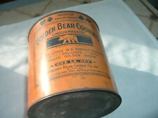 VINTAGE 1 LB. GOLDEN BEAR COOKIES TIN CAN INSIDE AND OUT ADVERTISING