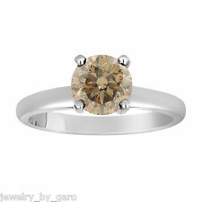 1.01 CARAT CHAMPAGNE BROWN DIAMOND SOLITAIRE ENGAGEMENT RING 14K WHITE GOLD