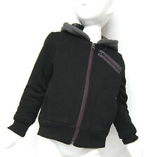 BC Clothing Boys Black & Grey Hooded Jacket, Small 5-6 Yrs, Fleece Lined Hoodie