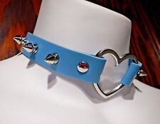 PASTEL BLUE SPIKED HEART RING COLLAR silver rivet choker punk necklace vinyl R2