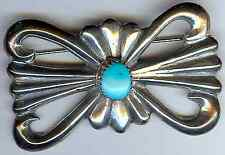 HALLMARKED VINTAGE NAVAJO INDIAN HEAVY SILVER & TURQUOISE PIN