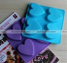4-Heart Cake Mold Cookie Mould Flexible Silicone Soap Mold Chocolate Mould S2