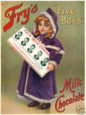 Frys Five Boys Milk Chocolate Vintage Advertising Poster 7x5 Inch Reprint