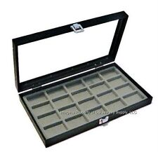 2 Glass Top Grey Collectibles Lighter Collectors Display Box Cases