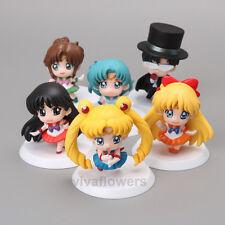 6 set Anime Sailor Moon Jupiter Venus Mercury Doll mini petit Figure Toys