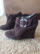 Banana Republic Brown Suede Leather Wedge Booties With Buckle Size 7