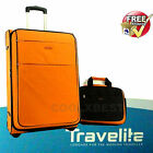 TRAVELITE 72cm TROLLEY SUITCASE + CABIN TOTE BAG HOLIDAY TRAVEL GERMAN DESIGN