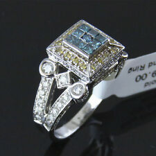 NYJEWEL 14k Gold Brand New 2.5ct Yellow Blue White Diamond Engagement Ring