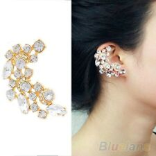 Gold Plated  CRESCENTCrystal Diamonte Punk Ear Cuff Earring Clips LEFT  EAR EC1