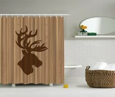 Northwoods Moose Head Shower Curtain Rustic Wooden Panels Log Cabin Bath Decor