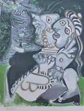 "PABLO PICASSO ""the couple "" plate signed HAND NUMBERED LITHOGRAPH gouache"