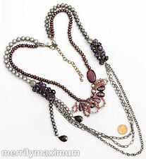 Chico's Signed Statement Necklace Stunning Gunmetal Black Chain Purple Pink Gray