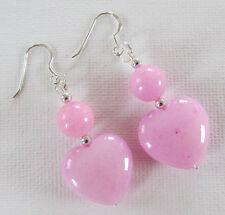 Pink Jade Hearts 925 Sterling Silver Drop PIERCED Earrings Jellybean