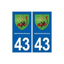 43 Saint-Ferréol-d'Auroure blason autocollant plaque immatriculation ville droit