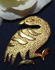 STUNNING CROWN TRIFARI SIGNED UNUSUAL BIRD PIN - EXCELLENT WITH NO WEAR!!!!