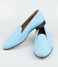 NIB. RALPH LAUREN PURPLE LABEL ITALY Collis Blue Linen Slippers Shoes 9 D $650