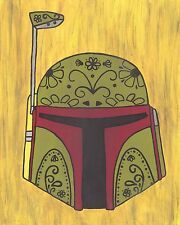 Boba Fett Day of the Dead print 8X10, Comic character and Pop Art