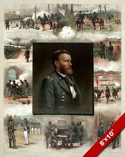 ULYSSES S GRANT WEST POINT TO US CIVIL WAR OIL PAINTING ART REAL CANVAS PRINT