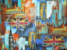 BRITISH LONDON CITY UK SITES BRIGHT BLUE COTTON FABRIC FQ
