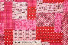 Hugs Kisses Patch Pink Red Valentine Valentine's Day Cotton Fabric   BTY  (D1)