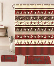 15PC BURGUNDY STAR BATHROOM BATH SET RUG CARPET MATS SHOWER CURTAIN HOOKS