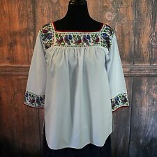 Hand Beaded Long Sleeve Chaquira Blouse Blue Birds Puebla Mexico Peasant Hippie