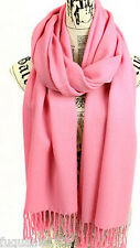 New Winter Women's Fashion Pink Solid Pashmina Wrap Shawl Scarf Soft Long Stole