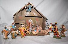 "Nativity Italy Plastic 4.5"" scale 20 pieces Wood Stable Christmas Jesus"