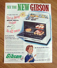 1953 Gibson Electric Range Ad Deep Well Cooker & 2 Do All Ovens
