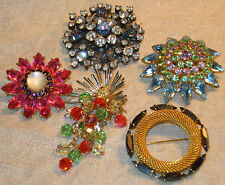 Lot 5 Pc BIG Vintage 1950s RHINESTONE BROOCH Aurora Borealis STARBURST Hot Pink