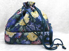 VTG SASSABY Makeup Drawstring BAG & Case Blue Yellow Floral EUC ROLLERS COSMETIC