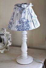 Tall Blue Duck Egg Toile de Jouy Chateau Wooden White Bow table lamp Shabby Chic