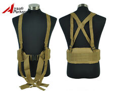 Tactical Military Hunting Airsoft Molle Combat Padded War Belt w/Suspender Tan