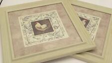 Matching Pair Kathryn White Print Wall Mount Framed Country Kitchen Decor