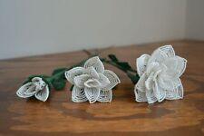 3 handmade French beaded Flowers white rose roses