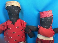 Antique Pair Of Black Americana Folk Art Cloth Textile Dolls Man & Woman