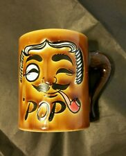 Japanese Coffee Mug Dad Pop with Smoking Pipe Face & Pipe Handle Father Cup